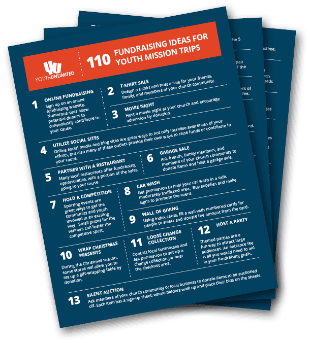 110 fundraising ideas for youth mission trips
